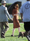 Emma Stone walked with a sun umbrella on the set of The Gangster Squad with Ryan Gosling.