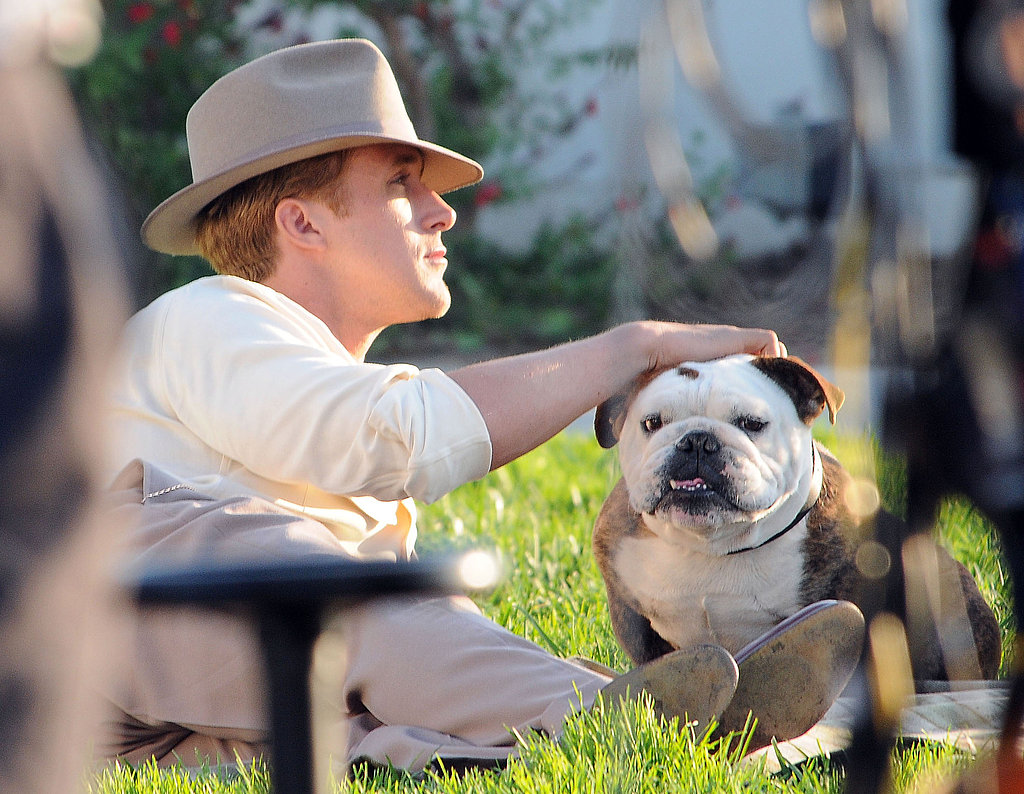 Ryan Gosling spent time with a bulldog on the set of The Gangster Squad.