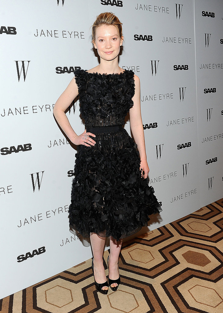 Showing off a beautifully textured Elie Saab dress at the Jane Eyre premiere.