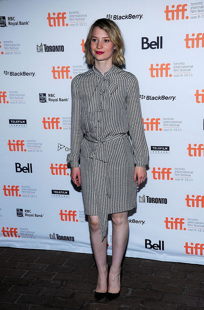 For the Restless premiere at the Toronto Film Festival, Mia chose a polished Gucci frock.