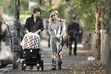 Mathew Bellamy and Kate Hudson went for an early morning stroll with Bingham Bellamy.