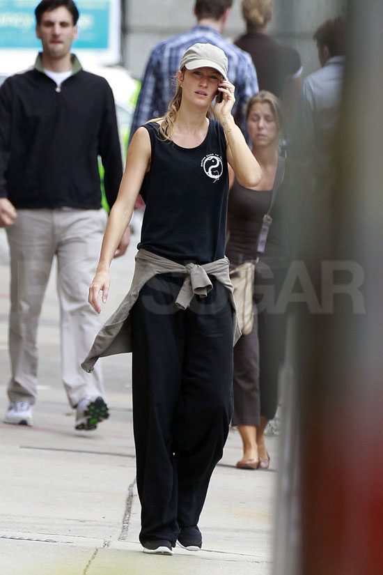 Gisele Bundchen walks around Boston.
