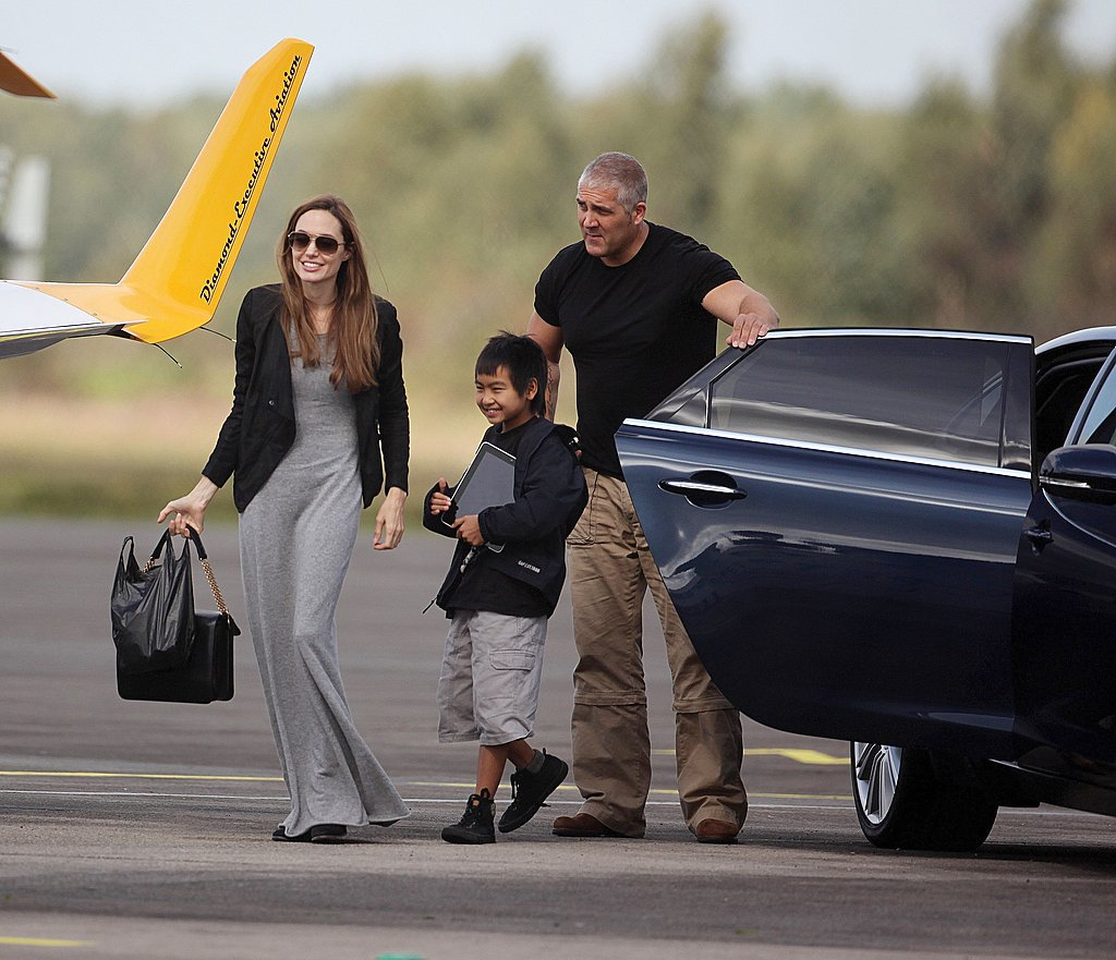 Angelina Jolie and Maddox Jolie-Pitt prep for flying lessons.