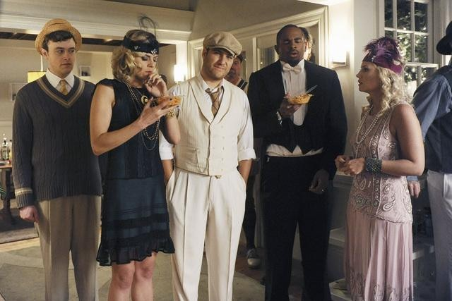 Eliza Coupe as Jane, Adam Pally as Max, Damon Wayans Jr. as Brad,  and Elisha Cuthbert as Alex on Happy Endings.  Photo copyright 2011 ABC, Inc.