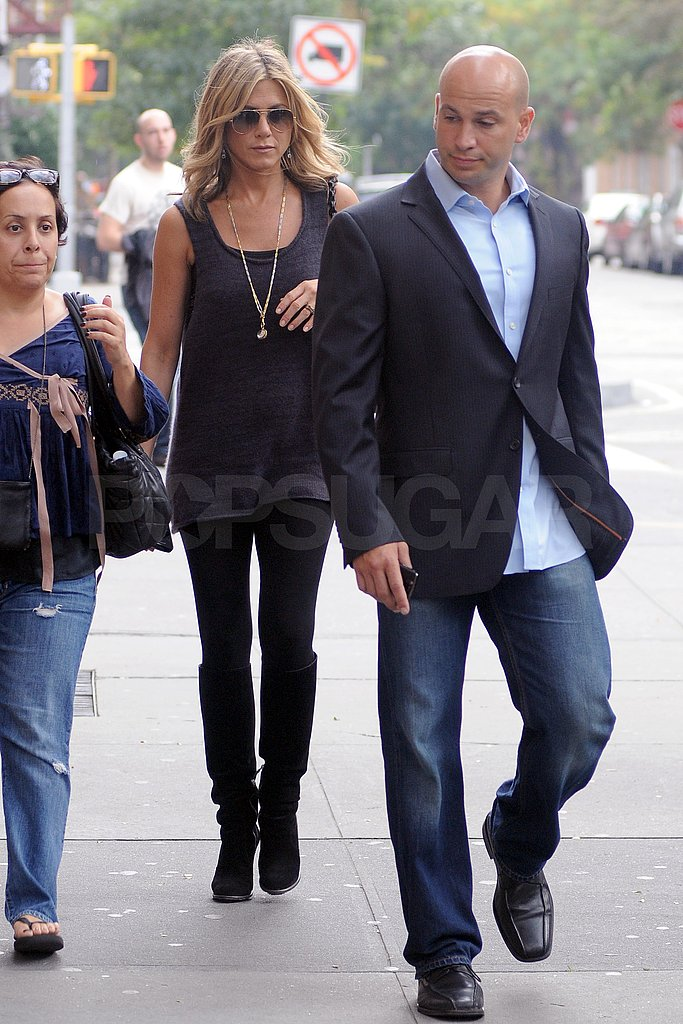 Jennifer Aniston walked to the Good Morning America studios in NYC.