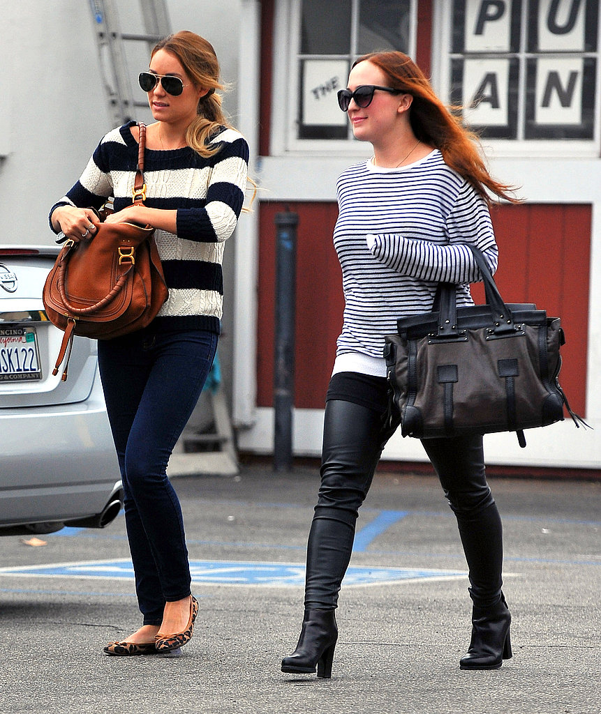 Lauren Conrad with a friend at the Brentwood Country Mart.