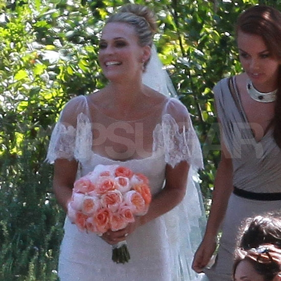 Molly Sims went with a simple updo which was adorned with jewels