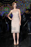 Scarlett Johansson wore a Dolce & Gabbana lace sheath dress to the brand's runway show.