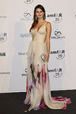 Isabeli Fontana in a floor-sweeping Roberto Cavalli printed gown to the amfAR gala.