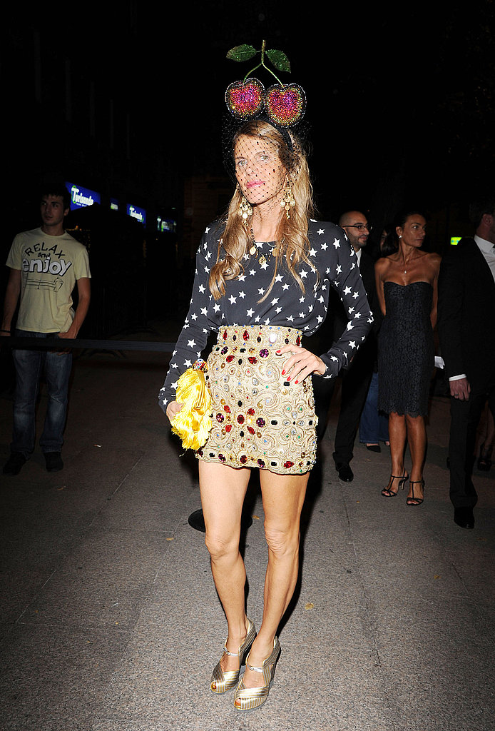 Anna Dello Russo changed into a more casual outfit at the Dolce & Gabbana Gold restaurant soiree.