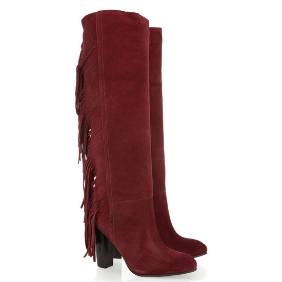 Diane von Furstenberg Penn Fringed Leather Knee Boots