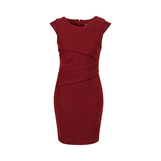Topshop Ponte Pleated Bodycon Dress