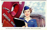 It's Jane Wyman for American Airlines! The future Mrs. Ronald Reagan in a red, white, and blue ad.