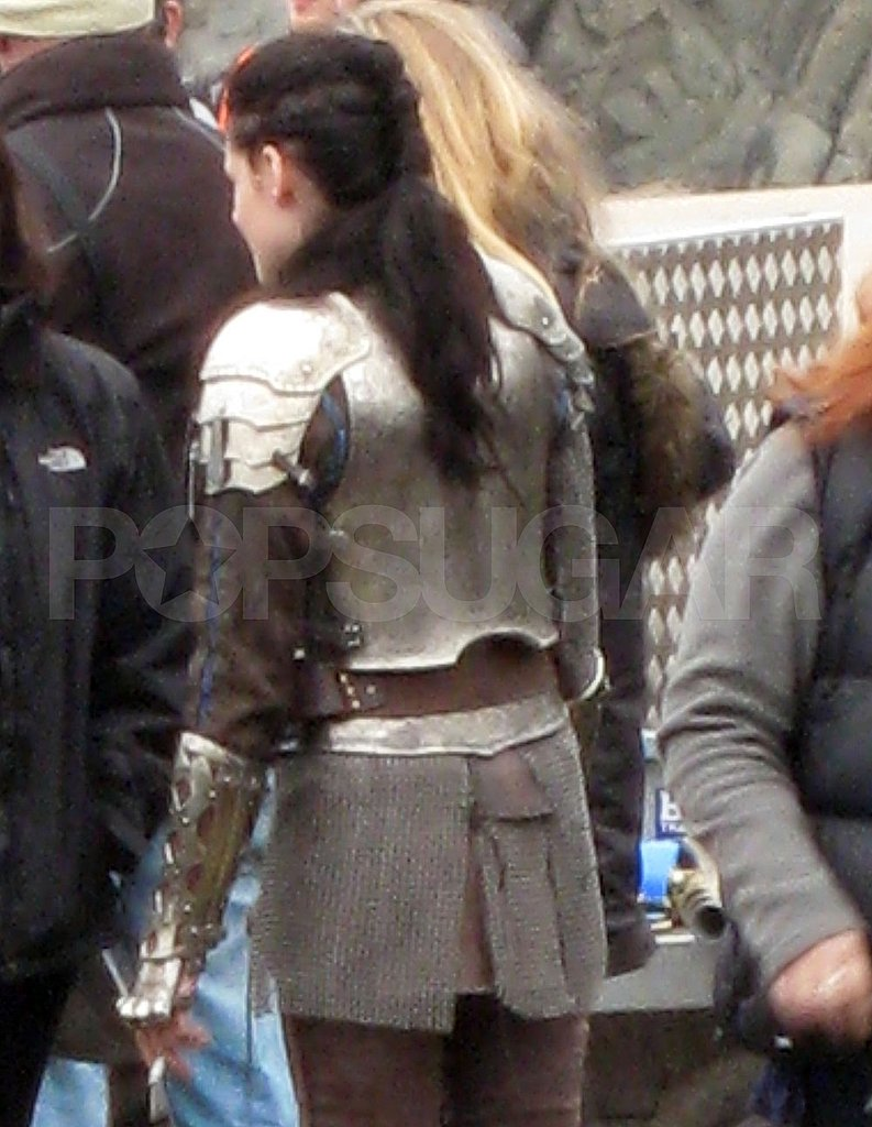 Kristen Stewart in body armor for Snow White and the Huntsman.