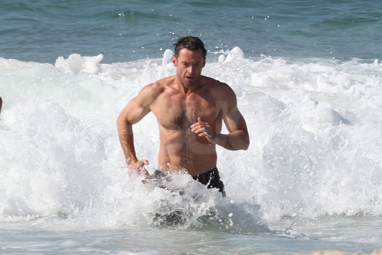 Hugh Jackman outran the waves at Bondi Beach.