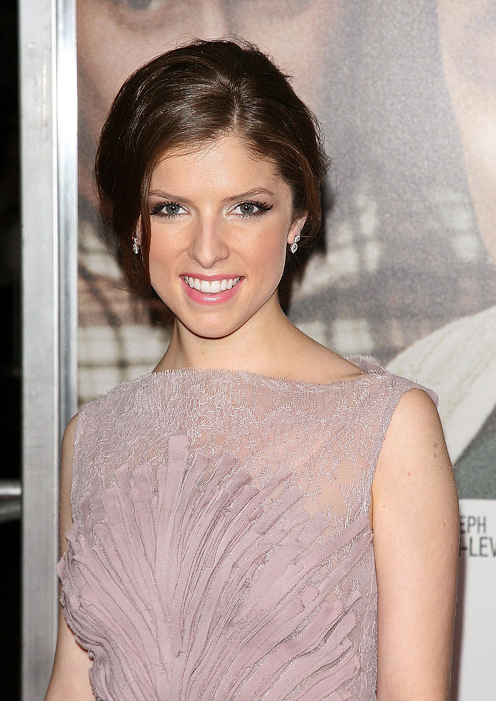 Anna Kendrick in a lavender dress.