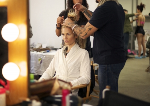 Shannon had a team of professionals working on her hair.  Photos courtesy of The CW