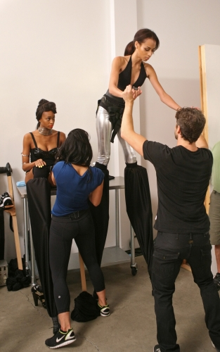 Isis received a helping hand as she learned how to walk on stilts.  Photos courtesy of The CW