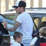 David Beckham, Cruz Beckham, and Romeo Beckham head to practice.