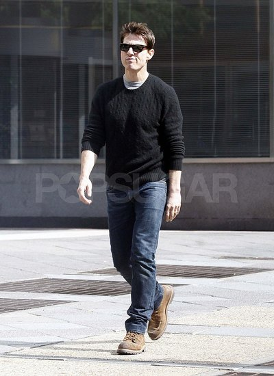 Tom Cruise with short hair in NYC.