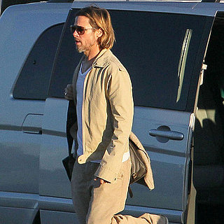 Brad Pitt Pictures Boarding Helicopter to World War Z Set