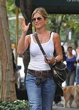 Jennifer Aniston waved to fans on the street in NYC.