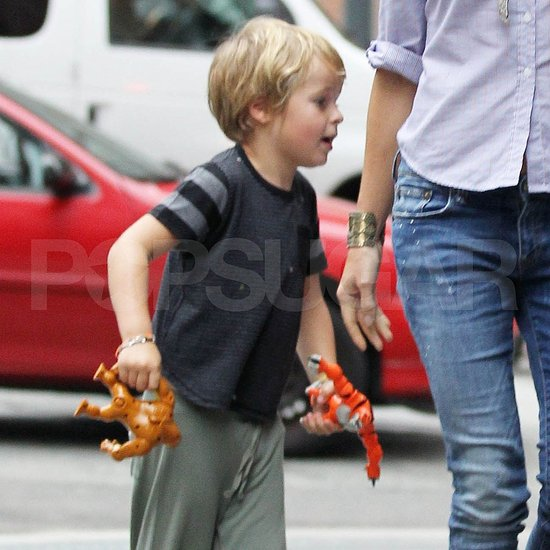 Gwyneth Paltrow's son Moses with toys in NYC.