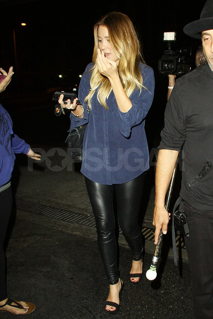 Lauren Conrad in leather pants in LA.