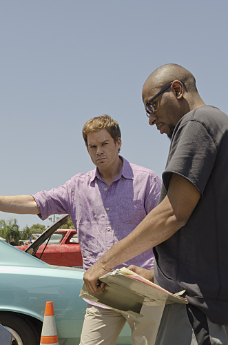 Michael C. Hall as Dexter Morgan and Mos Def as Brother Sam on Dexter. Photo courtesy of Showtime