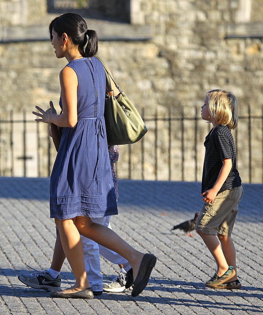 Shiloh Jolie-Pitt in London with a nanny.