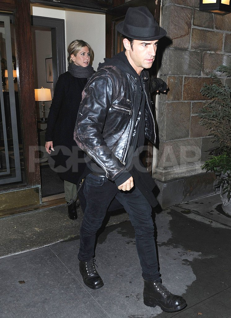 Jennifer Aniston and Justin Theroux head out to dinner.