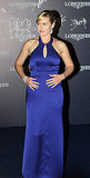 Kate Winslet in a long blue gown.