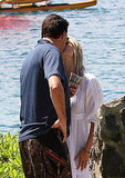 Newlyweds Molly Sims and Scott Stuber share a kiss.