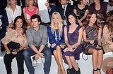 Orlando Bloom in the front row with Poppy Delevigne.