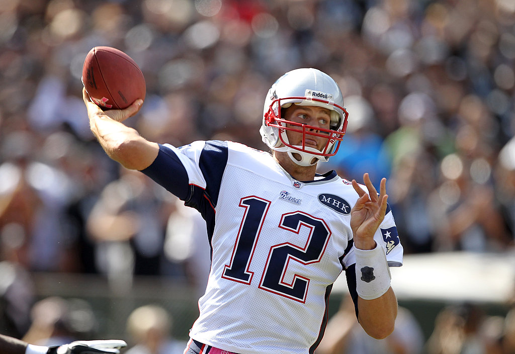 Tom Brady showed off his throwing form.