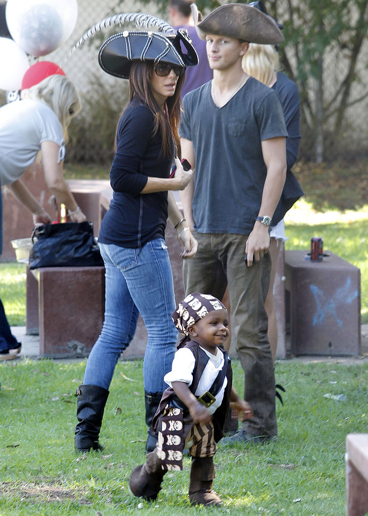 Sandra Bullock and Louis Bullock ran around a Halloween party in LA.