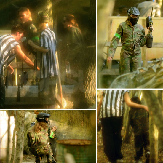 Exclusive Pics: Brad, Angelina, and Maddox Play Paintball in Full Camo!