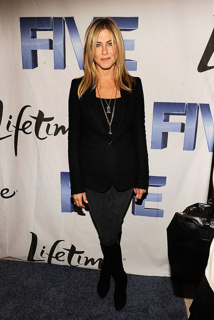 Jennifer Aniston in head-to-toe black.