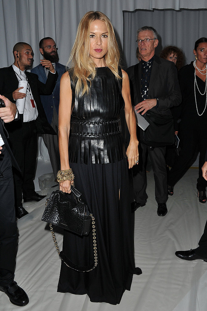 Rachel Zoe wore leather to Givenchy.