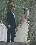 Seth Rogen and Lauren stood in place for their ceremony.