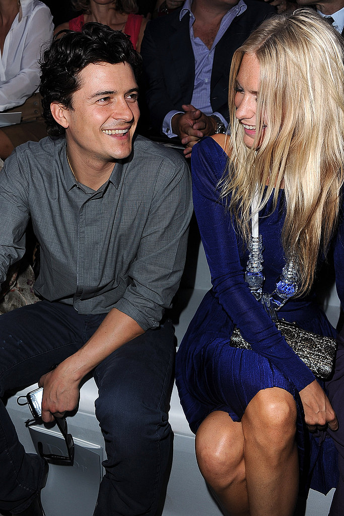 Orlando Bloom and Poppy Delevigne Front Row at Christian Dior