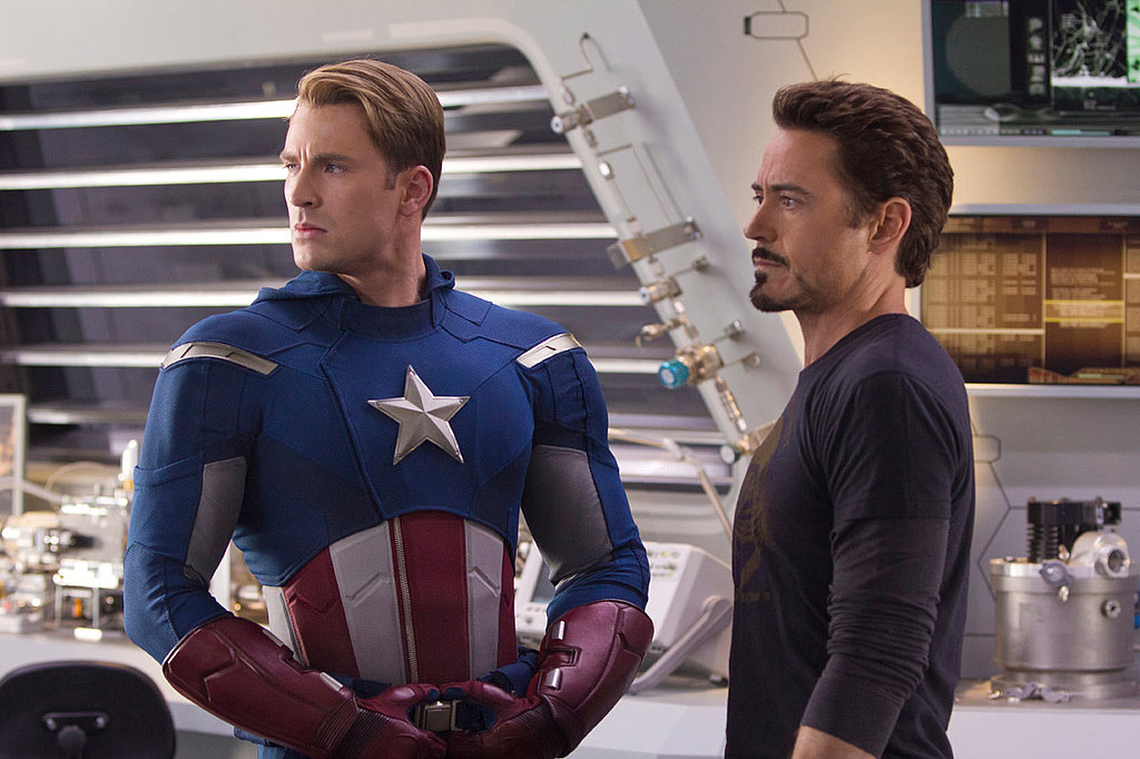 Chris Evans as Captain America and Robert Downey Jr. as Iron Man in The Avengers.  Photo courtesy of Disney