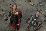Chris Hemsworth as Thor and Chris Evans as Captain America in The Avengers.  Photo courtesy of Disney
