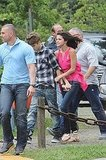 Selena Gomez held Justin Bieber on their way to a helicopter ride in Brazil.