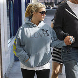 "Jessica Simpson wears a ""love"" sweatshirt."