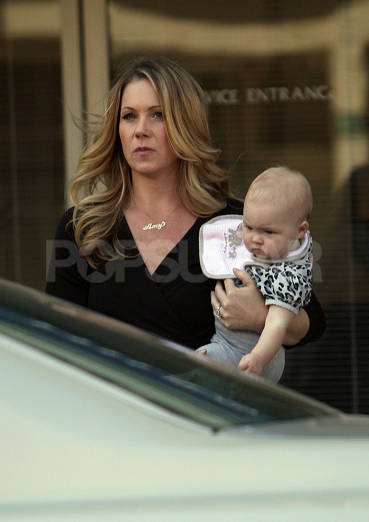 Christina Applegate held her daughter after filming Up All Night in LA.