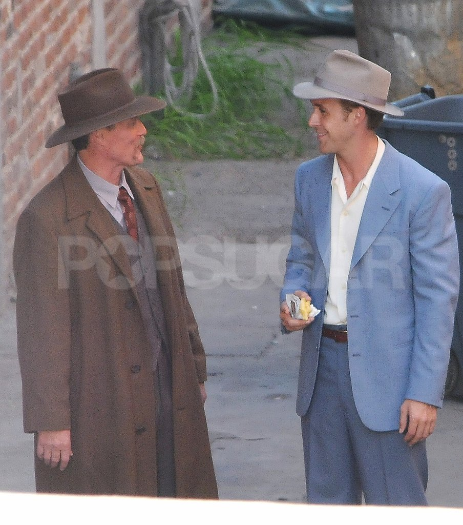 Ryan Gosling smiled on the set of The Gangster Squad.