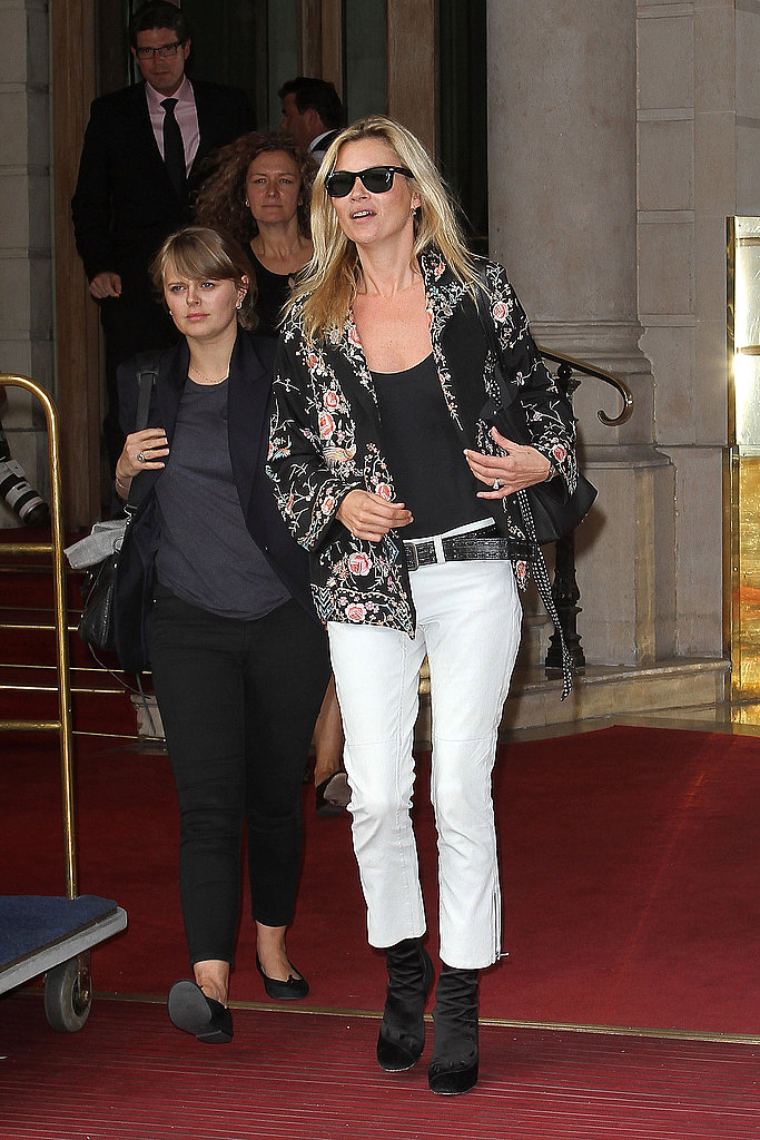 Kate Moss left the Ritz hotel in Paris.