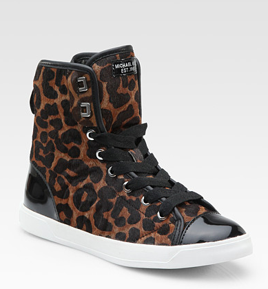 We love these funky leopard-print sneakers jazzed up with patent details.  Michael Michael Kors City Leopard-Print High-Top Sneakers ($160)