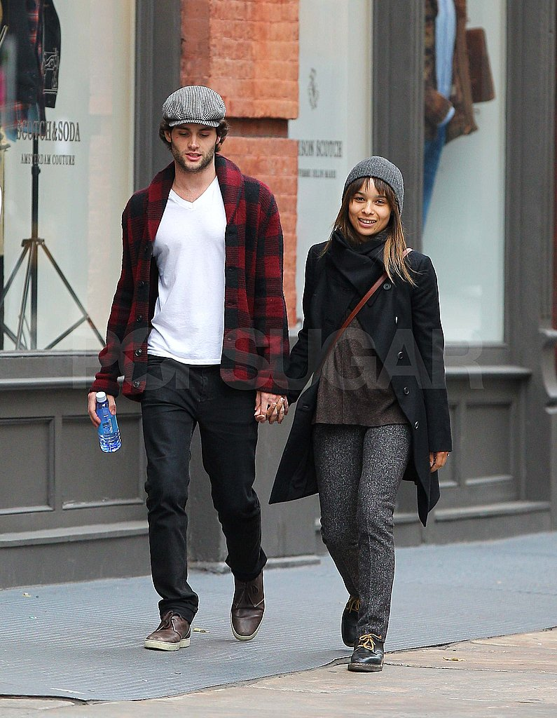 Penn Badgley and Zoe Kravitz holding hands in NYC.